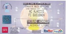 Ticket Football Ajaccio / Gueugnon Saison  2004 - Autres