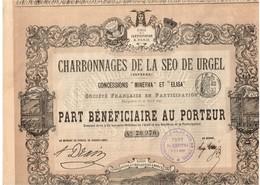 """Ancien Titre - Charbonnages De La Seo De Urgel ( Espagne) - Concessions """"Minerva"""" Et """"Elisa"""" - Titre De 1893 - Déco - Mines"""