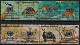 ~~~ Burundi 1975 - Fauna Met Opdruk 30e Verjaardag Verenigde Naties - Mi. 1205/1212 ** MNH ~~~ - Burundi