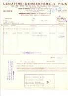 FACTURE LEMAITRE-DEMEESTERE LINGES DE TABLE RUE DE LA LYS à HALLUIN NORD 1957 - Textilos & Vestidos