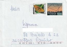 Lettera Da Svizzera A Fara Vicentino Con Francobolli Del 2002 E 2008 - Svizzera