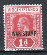 British Virgin Islands George V Single 1d  Stamp From 1916 Overprinted War Stamp.  This Stamp Is Catalogue Number 78. - British Virgin Islands