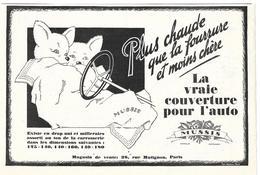1925 Mussis La Couverture Pour L'auto (Automobile - Voiture Ancienne) - Publicité - Pub - (Renardeaux) - Publicités