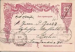 Turkey; Ottoman Postal Stationery Sent From Galata/Istanbul To Berlin (Message Part) - 1858-1921 Impero Ottomano
