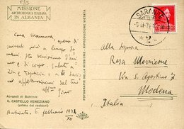 45300 Albania, Circuled Card 1934  From Sarande To Italy, Italian Archeological Mission, See 2 Scan !! Acropoli Di Butri - Albania
