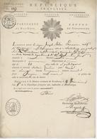 Passeport Héraldique Strasbourg An 6 - 24.11.1797 Joseph Blau Pharmacien Ketzingen Papier Timbré Héraldique - Fiscales