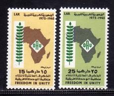 LIBYA LIBIA REPUBLIC GADDAFI ISSUE GHEDDAFI LAR 1973 FREEDOM IN UNITY AFRICAN ORGANIZATION COMPLETE SET SERIE MNH - Libië