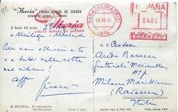 45306 Spain, Red Meter Freistempel Ema,1962 Madrid Barajas Airport Iberia Limeas Aerea De Espana,card Circuled - Marcofilia - EMA ( Maquina De Huellas A Franquear)
