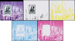 ** COREE DU NORD - Blocs Feuillets - 393, 4 Feuillets En Essais De Couleur + 1 Piquage Très Décalé: Steinitz, échecs - Corée Du Nord