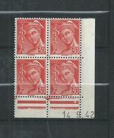 FRANCE  LUXE  N°547  BLOC  DE  4  COIN  DATE  26/10/42 TYPE  MERCURE  NEUFS ** - Coins Datés