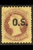"SOUTH AUSTRALIA OFFICIAL 1876-85 4d Deep Mauve ""O.S."" Overprint Perf 10x11½-12½, SG O17, Fine Mint, Showing Broken Top O - Australia"