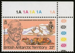 """1980 22p Geographical Society With """"Wmk Crown To Right Of CA"""" Variety, SG  97w, Never Hinged Mint Corner Marginal. For M - British Antarctic Territory  (BAT)"""