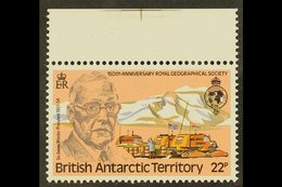 1980 22p Sir Thomas Wordie With Watermark CROWN TO RIGHT Of CA Variety, SG 97w, Never Hinged Mint Top Marginal. For More - British Antarctic Territory  (BAT)