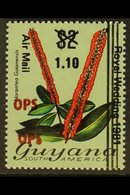 """1981 Official Air $1.10 On $2 Flower, """"OPS"""" Double, SG O22a, Fine Never Hinged Mint. For More Images, Please Visit Http - Guyana (1966-...)"""