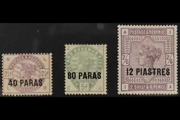 1885-8 40pa On 2½d Lilac, 80pa On 5d Green & 12pi On 2s6d Lilac On White Paper, SG 1/3a, Good To Very Fine Mint (3 Stamp - Brits-Levant