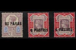 1887-96 80pa On 5d Purple & Blue, 4pi On 10d Both Shades Of Dull Purple & Carmine / Deep Bright Carmine, SG 5, 6, 6a, Go - Brits-Levant