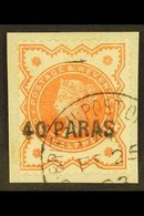 1893 40 Para On ½d Vermillion, SG 7, Cds Used On Piece For More Images, Please Visit Http://www.sandafayre.com/itemdetai - Brits-Levant