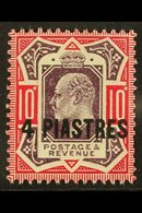 """TURKISH CURRENCY 1902-05 4pi On 10d Dull Purple & Carmine (chalky) """"No Cross On Crown"""" Variety, SG 31b, Never Hinged Min - Brits-Levant"""
