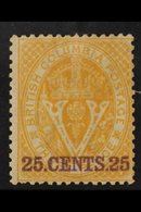 1868-71 25c (violet) On 3 Pence Yellow, Perf 14, SG 31, Fine Mint. For More Images, Please Visit Http://www.sandafayre.c - British Columbia