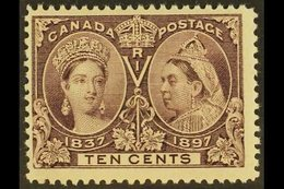 """1897 10c Purple Jubilee RE-ENTRY IN """"P"""" AND OVAL (position 3) Variety, Unitrade 57iii (SG 131 Var), Fine Mint, Very Fres - British Columbia"""