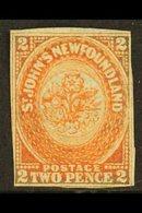 1860 2p Orange Vermilion, SG 10, Good Mint No Gum. Touches Outer Frameline At Bottom And Sides. BPA Cert. Cat £600 For M - Newfoundland And Labrador
