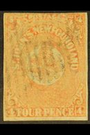 1860 4d Orange-vermilion, SG 12, Small Margins All Round, Barred Cancel, Sound. For More Images, Please Visit Http://www - Newfoundland And Labrador