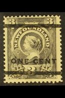 1897 1c On 3c Grey Purple, Type 38 Surcharge, SG 82, Very Fine Mint. For More Images, Please Visit Http://www.sandafayre - Newfoundland And Labrador