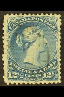 """1868 12½c Bright Blue Large Queen On Watermarked Paper, SG 60b, Clear """"UTH"""", Cds Used, Few Shorter Perfs. For More Image - Canada"""