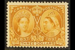 """1897 $3 Bistre """"Jubilee"""", SG 138, Unitrade 63, Fine Mint With A Tiny, Single Perf Thin For More Images, Please Visit Htt - Canada"""