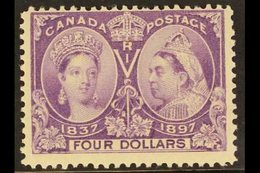 """1897 $4 Violet """"Jubilee"""", SG 139, Unitrade 64, Fine Mint For More Images, Please Visit Http://www.sandafayre.com/itemdet - Canada"""