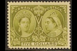 """1897 $5 Olive Green """"Jubilee"""", SG 140, Unitrade 65, Very Fine - Well Centred, NEVER HINGED MINT. A Beautiful Example Of  - Canada"""