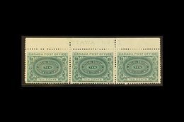 """1898 SPECIAL DELIVERY 10c Blue-green, SG S1, Upper Marginal """"Ottawa - No -1"""" Plate Strip Of Three Mint, One With A Small - Canada"""
