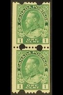 """1912-21 COIL MACHINE 1c Blue Green """"Two Large Holes At Top & Bottom"""", SG 217a, Lower Stamp Is Nhm, Very Fine Mint Vertic - Canada"""