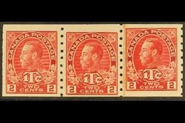 """1916 COIL STRIP. 2c + 1c Carmine Red (Die I) War Tax - Imperf X P8, SG 234, Coil Strip Of Three Including A """"Paste Up Pa - Canada"""