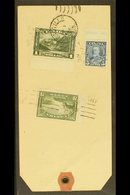 """1936 PARCEL TAG Franked With 1930 $1 Olive-green, 1935 5c Blue & 20c Olive-green ($1.25 Rate), From """"The Canadian Bank O - Canada"""