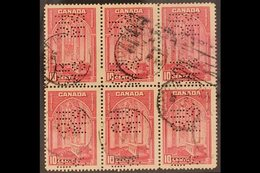 """OFFICIAL 1937-38 10c Rose-carmine Punctured """"O.H.M.S."""", SG O103, Fine To Very Fine Used BLOCK OF SIX. A Scarce Multiple  - Canada"""