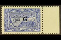 """OFFICIAL 1951 $1 Blue Fisherman With """"G"""" Overprint, SG O192, Never Hinged Mint. For More Images, Please Visit Http://www - Canada"""