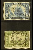 """OFFICIALS 1928-29 50c Blue And $1 Olive-green Punctured With Type O1 """"OHMS"""" Perfin, SG O39/O40, Good Used. (2 Stamps) Fo - Canada"""
