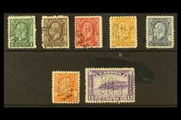 """OFFICIALS 1932-33 """"Medallions"""" Complete Set Punctured With Type O1 """"OHMS"""" Perfins, SG O65/O71, Good To Fine Used. (7 Sta - Canada"""