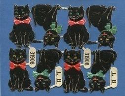 Bel Ensemble Chromos Decoupis Chat Noir Flot Rouge Ou Vert Yeux Verts Ou Jaunes  Encore Attachés LB Germany - Animals