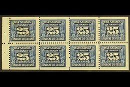 REVENUE STAMPS WAR SAVINGS 1940-41 25c Blue, White Gum, Complete Pane Of 8, Van Dam FWS5c, Never Hinged Mint, A Few Mark - Canada