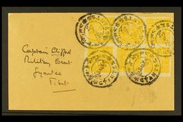 TIBET 1933 ½t Yellow Orange, Imperf, SG 98, Superb Block Of 8 Tied On Front By Gyantse Native Cds Cancels, Addressed To  - China