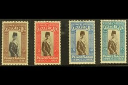 1929 Prince Farouk's 9th Birthday With Central Vignettes In Black (5m Value) Or Brown, SG 178a/81a (Chalhoub C29c/32c),  - Egypt
