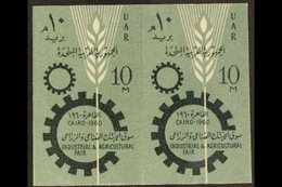 1960 10m Industrial And Agricultural Fair IMPERFORATE PAIR (as SG 633), Chalhoub C237a, Never Hinged Mint. 100 Printed ( - Egypt