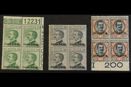 """1925 20c To 2L Ovptd """"Colonia Eritrea"""", Sass S20, In Never Hinged Mint Blocks Of 4. Cat 2200 Euro. (£1800+), 20c Is Corn - Eritrea"""