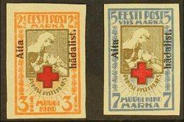 "1923 Red Cross ""Aita Hadalist"" Opt'd Imperf Set, Mi 46B/47B, Very Fine Mint (2)   For More Images, Please Visit Http - Estonia"