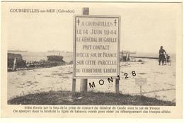 NORMANDIE-DEBARQUEMENT 1944- COURSEULLES SUR MER-STELE ELEVEE SUR LE LIEU DE LA PRISE DE CONTACT DU GAL DE GAULLE - Courseulles-sur-Mer