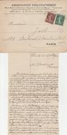 DEMANDE De MÉRITE AGRICOLE S/ ENVELOPPE ASSOCIATION PHILOMATHIQUE De 9/1921 - Variedades Y Curiosidades