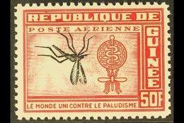 1962 INVERTED CENTRE. 50f Carmine-rose & Black Malaria Eradication With INVERTED CENTRE (MOSQUITO) Variety (as Scott C30 - Guinea (1958-...)