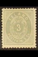 1873 3sk Grey, Perf 12½x12½, Fac. 5, Superb Mint Og. For More Images, Please Visit Http://www.sandafayre.com/itemdetails - Iceland